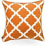Hofdeco Indoor Outdoor Cushion Cover ONLY, Water Resistant for Patio Lounge Sofa, Fall Orange White Moroccan Quatrefoil, 45cm