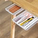 2 PCS Under Desk Drawer Organizer Storage, Self-Stick Pop-up Hanging Pencil Hiding Office Desk Desktop Organizer, Multi Funct