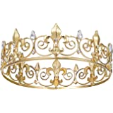 SWEETV Royal Full Round King Crown Crystal Tiara for Men Party Hats Costume Accessories Gold