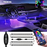 Interior Car Lights, Tecboss LED Strip Lights, Atmosphere Lights with 72 LEDs Waterproof, Bluetooth APP Remote Control, USB P