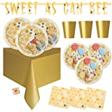 Winnie the Pooh Party Supplies - First Birthday, Baby Shower - Serves 16 - Includes Tablecover, Banner Decoration, Plates, Cu