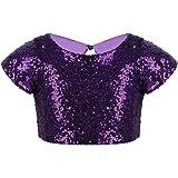 JEATHA Kids Girls Short Cap Sleeves Shiny Sequins Crop Top Keyhole Cutout Back Street Dancing Hip Hop Dancewear