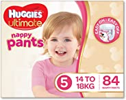 Huggies Ultimate Nappy Pants, Girls, Size 5 Walker (14-18kg), 84 Count
