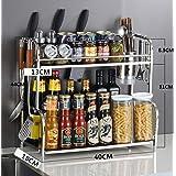 Spice Rack Organizer 2 Tier Stainless Steel Kitchen Storage Rack Counter Organizer Shelf