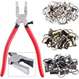 "Swpeet 36 Sets 1"" 25mm 3 Colors Key Fob Hardware with 1Pcs Key Fob Pliers, Glass Running Pliers Tools with Curved Jaws, Studi"