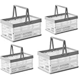 BYFU4 Pack Plastic Collapsible Storage Crates with Handles, Stackable Folding Shopping Baskets, Utility Container Organizer B