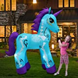 6Ft Day of The Dead Unicorn Halloween Inflatable Blue Skeleton Horse with LED Lights Blower Pegasus Decoration Outdoor Indoor