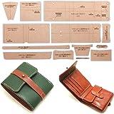 [アイランドパピー] レザークラフト 硬質紙製 型紙 革 長 財布 バッグ カバン 説明シート付き (二つ折り財布ベルト)