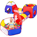 5pc Baby Ball Pits for Toddlers, Kids Play Tent and Play Tunnel, Children Indoor Outdoor Playhouse with Crawling Toys, Boys a
