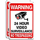 "HISVISION Video Surveillance Sign 2-Pack, No Trespassing Metal Reflective Warning Sign,UV Protected & Waterproof, 10""x 7"" 0.4"