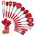 Silicone Cooking Utensil Sets, 15 pcs Kitchen Utensils Set, Non-stick Heat Resistant Silicone Cookware with Stainless Steel H