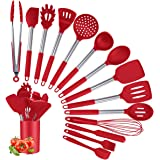Silicone Cooking Utensil Set, Kitchen Utensils 15Pcs Cooking Utensils Set, Non-stick Heat Resistant Silicone Cookware with St