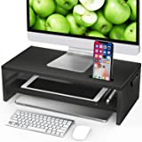 LORYERGO Monitor Stand Riser - 16.5 inch 2 Tier Desktop Stand for Laptop Computer, Desk Organizer with Phone Holder and Cable