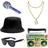 5pc 80s 90s Hip Hop Costume Kit Cool Rapper Outfits for Men