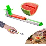 Watermelon Windmill Cutter Slicer,Stainless Steel Shape Fruit Tools Quickly Cut Tool Kitchen Gadgets with Melon Scoop FDA App