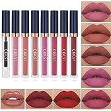 7Pcs Matte Liquid Lipstick + 1Pcs Lip Plumper Makeup Set Kit, Long Lasting Waterproof Velvet Lip Gloss Set, Pigmented Hallowe