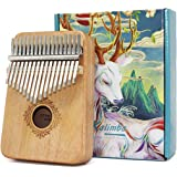 Kalimba 17-Keys Thumb-Piano mbira-kalimba - with Study Instruction and Tune Hammer Portable Mbira Sanza African Wood Finger P