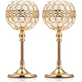 ManChDa Valentines Gift Gold Crystal Bowl Candle Holder Set of 2 for Dining Room Flange Decorative Centerpieces Modern House