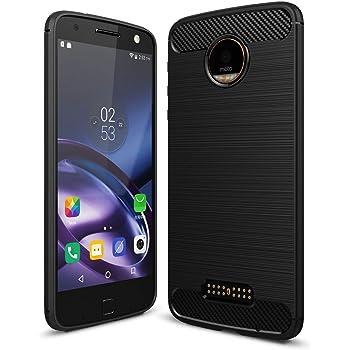 e11aa8c763 MOTO Z ケース, CHENXI 炭素繊維シリコンアンチスリップ スクラッチ 耐性落下 衝撃 吸収耐衝撃カバー ラギッド・アーマーために  Motorola Moto Z 黒い褐色