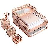 Blu Monaco Office Supplies Rose Gold Desk Accessories for Women-6 Piece Interlocking Stylish Desk Organizer Set- Pen Cup, 3 A