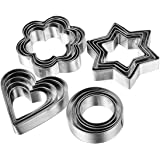 Fomatrade Cookie Cutter Mold Vegetable Fruit Cutter Shapes Set Stainless Steel(20pcs) 5 Stars Shape 5 Flowers Shape 5 Round S