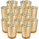 (12, Speckled Gold) - Just Artefacts Mercury Glass Votive Candle Holder 7cm H (12pcs, Speckled Gold) -Mercury Glass Votive Te