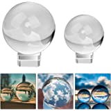 MerryNine Professional Photography Lensball, K9 Crystal Glass Ball with Pouch (60mm + 80mm, with Stand)
