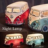 ワーゲンバス (ブルー) アメリカン LED ナイトランプ ライト 間接照明 インテリア 雑貨 アメリカン雑貨 ワーゲン バス グッズ (ブルー)