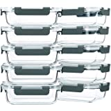 [10 Pack,22 Oz]Glass Meal Prep Containers,Glass Food Storage Containers with lids,Glass Lunch Containers,Microwave, Oven, Fre