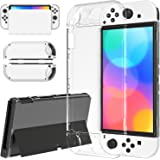 Clear Case for Nintendo Switch OLED Model, MENEEA Soft TPU Case for Switch OLED Model Joy-con and Hard PC Cover for OLED Cons