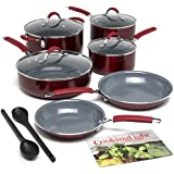 Cooking Light Allure Non-Stick Ceramic Cookware with Silicone Stay Cool Handle, 12 Piece Set, Red