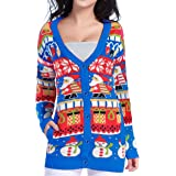 v28 Christmas Sweater Cardigan Ugly Women Girls Vintage Fun Knit Xmas Sweater