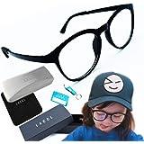 LACCL (ラクル) ブルーライトカット メガネ キッズ 子供用 こども PC パソコン 超軽量 13グラム 伊達眼鏡 クリアレンズ 度なし UV 90%以上 003