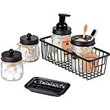 SheeChung Mason Jar Bathroom Accessories Set(6PCS) - Foaming Soap Dispenser,Toothbrush Holder,Qtip Holder,Apothecary Jars, So