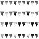 100' Feet Plastic Checkered Flag Decoration Racing/NASCAR Car Flag Decor for Parties Fun Triangles Squares 1-Piece Set