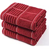 Anyi Kitchen Dish Towels Heavy Duty Absorbent Dish Cloths with Hanging Loop 100% Cotton Tea Bar Towels (16x26, Set of 3, Redw