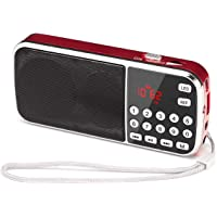 Gemean J-189 USB 小型 ラジオ 充電式 bluetooth ポータブル ワイド fm am 携帯 ラジオ ミニ、懐中電灯付き 対応 AUX SD MP3