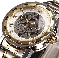時計、機械式時計 メンズウォッチクラシックスタイルのメカニカルウォッチスケルトンステンレススチールタイムレスデザインメカニカルスチームパンク