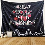 Black Tapestry Starry with Rose Flower Tapestry Treat People with Kindness - Harry Styles Boutique Tapestry Wall Hanging for