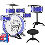 EMAAS 12 Piece Jazz Drum Set for Kids – 6 Drums, 2 Drumsticks, Kick Pedal, Cymbal Chair, Stool – Ideal  Kids, Boys and Girls