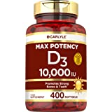 Vitamin D 10000 IU 400 Softgels | Value Size | Max Potency | Promotes Strong Bones and Teeth | Non-GMO, Gluten Free Supplemen