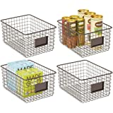 mDesign Farmhouse Decor Metal Wire Food Organizer Storage Bin Basket for Kitchen Cabinets, Pantry, Bathroom, Laundry Room, Cl