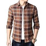 Yingqible メンズ シャツ 長袖 チェックシャツ フランネルシャツ ボタンダウン 綿 ワイシャツ ネルシャツ 折襟 カジュアル 無地