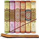 Premium Incense Sticks Lavender Sandalwood Jasmine Patchouli Rose Vanilla Variety Gift Pack 180 Sticks Includes a Holder in E