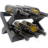 Bamboo Wine Rack ~ Foldable Countertop Wine Rack ~ Elegant Wine Holder for Kitchen, Bar, Cabinets. (Black, 1)