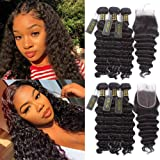 QTHAIR 10A Peruvian Loose Deep Wave Human Hair with Closure(18 20 22+16Free Part Closure,Natural Black) Peruvian Loose Deep W