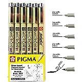 Sakura Pigma Micron drawing pens set, (Size: 005, 01, 03, 05,08, Brush tip) black fineliner artist pen