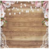 Funnytree 8x8ft Soft Fabric Flowers Wood Lace Rustic Backdrop Durable Wrinkles Free Wedding Floral Floor Photography Backgrou