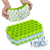 Ice Cube Trays, WETONG 2 Pack Silicone Ice Cube Molds with Lid Flexible 74-Ice Trays BPA Free, for Whiskey, Cocktail, Stackab