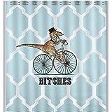 Personalized Dinosaur Bicycle Geometry Pattern Bath Decor Curtain 60 x 72 Fabric Shower Curtain